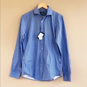 NEW • Boss • Blue Printed Button Down Shirt Medium